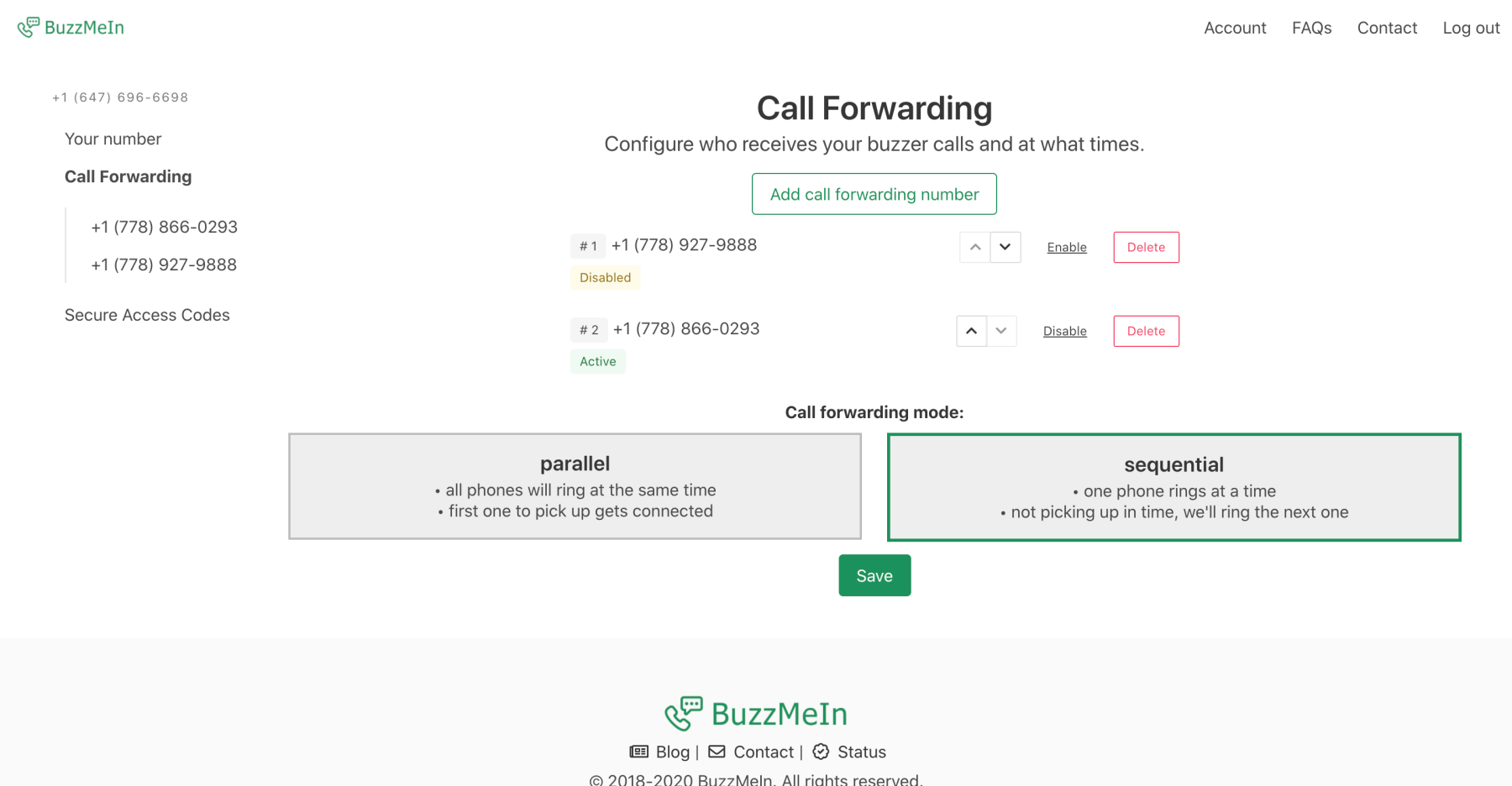 screenshot of BuzzMeIn call-forwarding feature. showing forwarding numbers and option of two call-forwarding modes